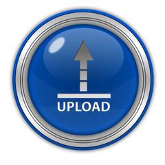 Upload circular icon on white background