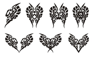 Tribal butterflies and hearts tattoos
