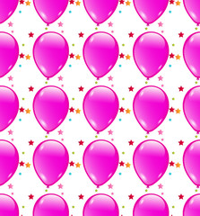 Seamless background with party balloons of pink colors