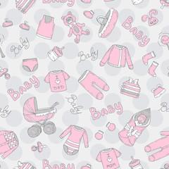 Vector seamless pattern with hand drawn symbols of newborn girl