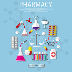 Vector pharmacy flat medical background.