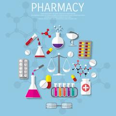 Vector pharmacy flat medical background.