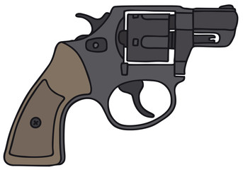 Black revolver, vector illustration