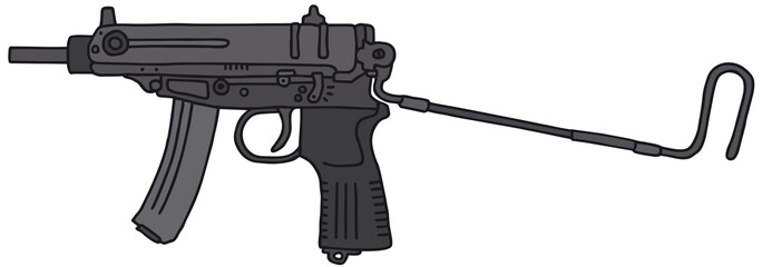 Small submachine gun, vector illustration