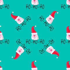 Santa claus on blue background. Seamless pattern. Vector