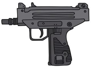Short submachine gun, vector illustration