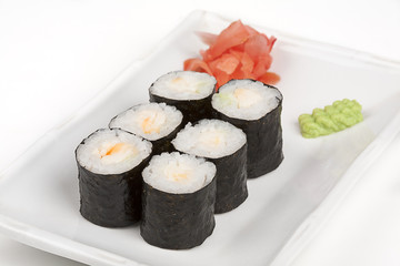 Sushi roll with shrimps.