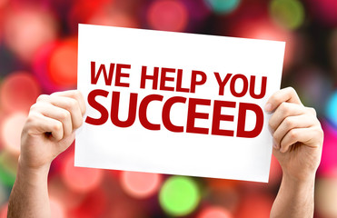 We Help You Succeed card with colorful background