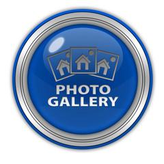 Photo gallery circular icon on white background
