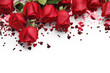 Red roses and heart shape ornaments