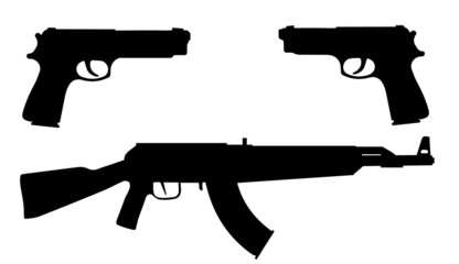 Vector silhouettes of weapons.