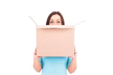 Woman holding a box. Stock Image.