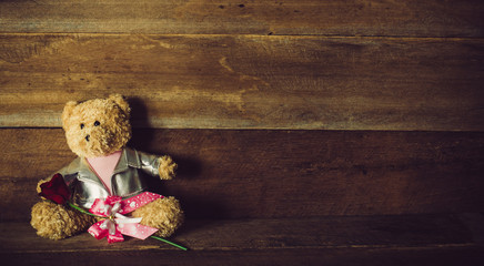 Doll and Roses on wooden  background
