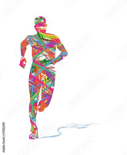Fototapeta silhouette astratta di uomo che corre