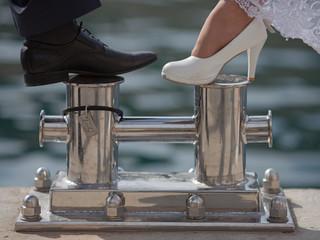 Feet of newly wedded