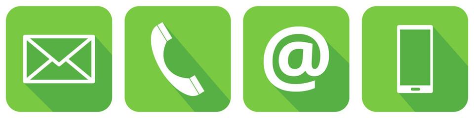 Grüne Kontakt Icons