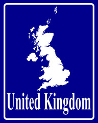 silhouette map of United Kingdom
