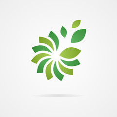 Logo combination of a flower and leaf.