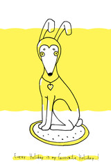 Illustration - Dog in rabbit hat on a yellow background