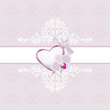 Ornamental light purple background with heart and orchid