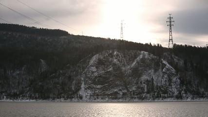 Bank of the river Yenisei.
