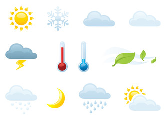 Individually grouped weather icons.
