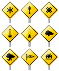 Weather warning signs.