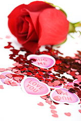 Valentine: Paper Hearts with Red Rose