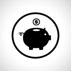 Piggy bank icon with a coin falling in.