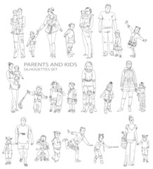 Kids sketch silhouettes