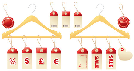 Sales tags and clotheshangers.