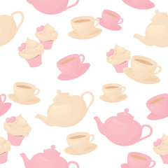 Seamless tea and cake background.