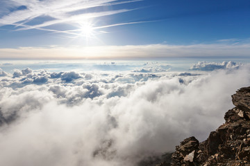 Panoramic view of the clouds over the Alps from Gouter hut