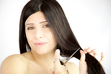Woman not sure about cutting her long hair