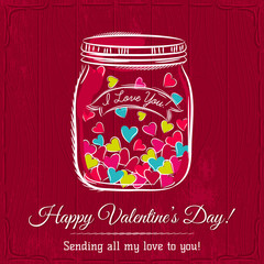 red valentine card with jar filled with heart and wishes text,