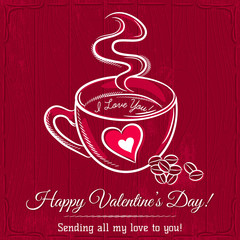 red valentine card with cup of hot drink and wishes text,  vecto