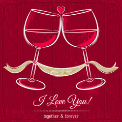 red valentine card with two glass of wine and wishes text
