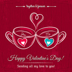 red valentine card with two cup of hot drink and wishes text,  v