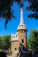 Gingerbread house in Park Guell in Barcelona, Catalonia, Spain