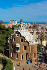 Gingerbread house in Park Guell, Catalonia, Spain