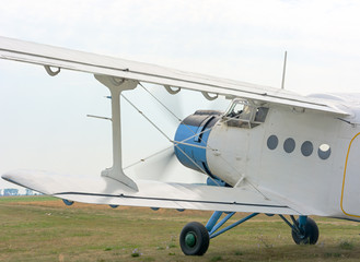A fragment of an airplane AN2 with the engine running and the ro