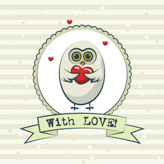 Valentine's day greeting card with owls. Vector