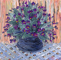 Still life oil. Delicate bouquet of violets in dark vase