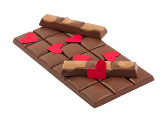 Chocolate bars and valentine isolated on white background