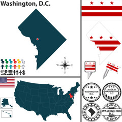 Map of Washington, D.C., USA