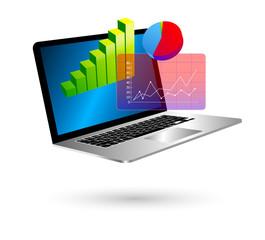 portatile, notebook, computer, aperto