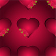 Seamless texture heart with three roses vector