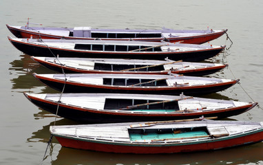 Boats in a row on Ganges River in Varanasi