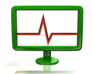 Green monitor with red pulse sign