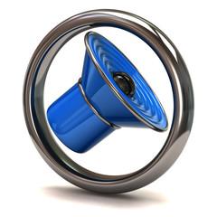 Blue speaker in a silver ring